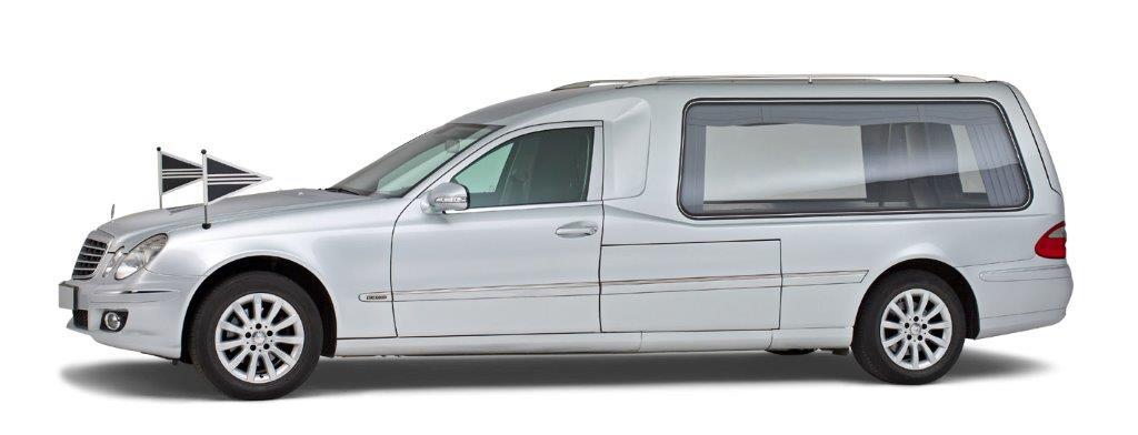 Correct monnereau zilvergrijze mercedes rouwauto 3 deurs glasuitvoering